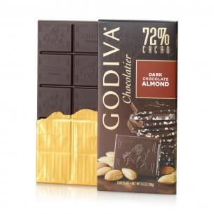 Godiva 72%杏仁 黑巧克力朱古力磚 100g