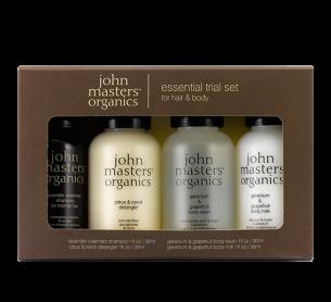 John Masters Organics Essential Trial Set 洗護發身體沐浴護理旅行套裝 30ml X 4